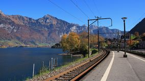 View from the train station in Mols, St Gallen canton, Switzerla Royalty Free Stock Images