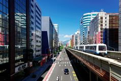 View of a train traveling on elevated rails of Taipei Metro System between office towers under blue clear sky. ! View of MRT railways in Taipei, the capital stock image