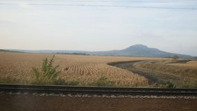 View from train - wheat field at sunny day. Autumn, Europe stock footage