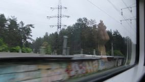 View from the Train Window. The view from the train window departure from the city stock footage