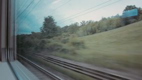 The view from the train window. Landscape from the train window HD stock footage