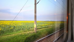 Traveling by Train. View through train window, sunset in summertime stock footage