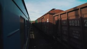 View from the train window to the oncoming train stock footage