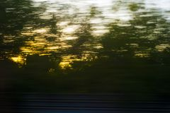 View from the train window. In dynamics royalty free stock photos