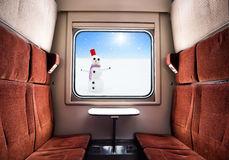 View from the Train Window. Winter landscape at sunny day. Christmas train travel. Stock Images