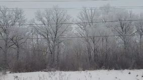 View from the train window in winter. View from the train window in winter stock footage