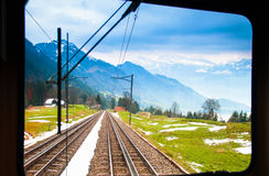 View from trains to the top of Rigi Kulm, Luzern, Switzerland stock photo