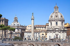 View of the Trajan Column and the Santissimo Nome di Maria. Royalty Free Stock Images