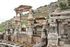 A view of Trajan Fountain at Ephesus. Royalty Free Stock Photos