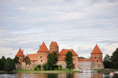 View on Trakai castle across lake Royalty Free Stock Photography