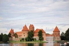 View on Trakai castle across lake Royalty Free Stock Photography