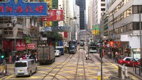 View from tram in Hong Kong city stock footage