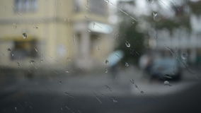 View of tram window on rainy day. In Leipzig, Germany stock footage