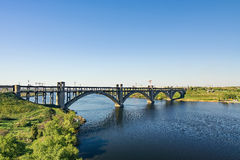 View of the Transfiguration Bridge. From the commander of the island Khortytsya Royalty Free Stock Images