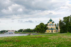 View of Transfiguration of Savior Cathedral and river pier, Ugli Royalty Free Stock Photography