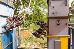 View of the transformer, Puttaparthi, Andhra Pradesh, India. Close-up. View of the transformer, Puttaparthi, Andhra Pradesh, India. Close-up Royalty Free Stock Photos