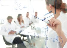 View through the transparent Board. female biochemist makes a report to colleagues Royalty Free Stock Photo