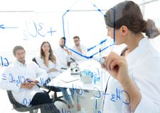 View through the transparent Board. female biochemist makes a report to colleagues Stock Photos