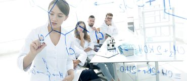 View through the transparent Board. female scientist makes a report to colleagues Royalty Free Stock Photography