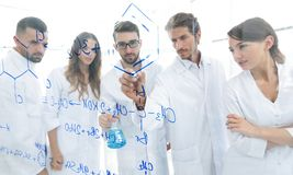 General-view seen trough a transparent board in a chemistry lab of people analyzing information Royalty Free Stock Image