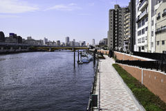 View of transportation of Sumida river in Asakusa area,Japan. Royalty Free Stock Photos