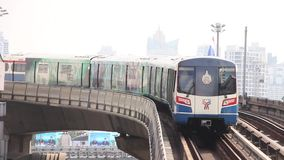 View of Transportation system in Bangkok. Skytrain Bangkok, Thailand, commonly known as the BTS. with people inside the train stock video