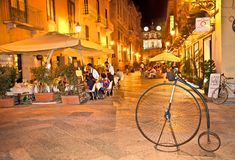View of Trapani street at night, Sicily . stock photography