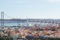 View on travel city Lisbon from top place stock images