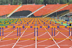 View on the treadmill at the stadium with barriers Royalty Free Stock Photo