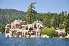 View of Treasure Island. (also known as China Island and Garstin Island). Located on Boulder Bay at Big Bear Lake in Southern California Royalty Free Stock Photography