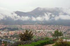 View of Trebinje city from Crkvina Hill on rainy spring day. Bosnia and Herzegovina. Republika Srpska royalty free stock photography