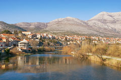 View of Trebinje city and Trebisnjica river. Bosnia and Herzegovina stock image