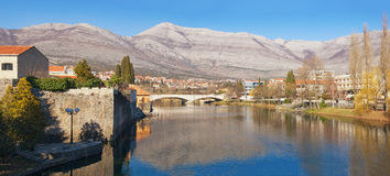 View of Trebisnjica river near Trebinje city. Bosnia and Herzegovina royalty free stock photography