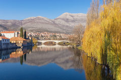 View of Trebisnjica river. Trebinje city, Bosnia and Herzegovina stock image