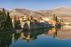 View of Trebisnjica river in Trebinje city. Bosnia and Herzegovina. royalty free stock images