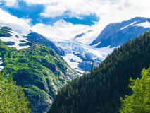 View through tree clad valley to distant Alaskan glacier. Stock Photos