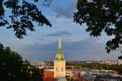View of the trees at the church tower of the cathedral in Bratislava Royalty Free Stock Photography