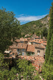 View of trees and house roofs under sunny blue sky in Moustiers-Sainte-Marie. Stock Images