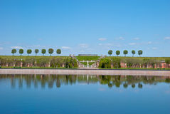 View of trees with reflection in peterhof Royalty Free Stock Image