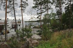 View on trees and some private houses behind on a summer day. Beautiful view on trees and some private houses behind on a summer day. Sweden, Uppsala Royalty Free Stock Photo
