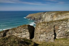 The view from Treknow near Tintagel in Cornwall Stock Photo