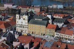 View from Trenčín castle to city centre of Trenčín Royalty Free Stock Photos