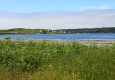 View from Trepassey towards Valna Fad, NL Canada. Landscape around the Irish Loop; view across Trepassey harbour towards the Valna Fad community, Avalon stock images