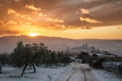A view of Trevi in Umbria Italy at sunset with snow. stock image