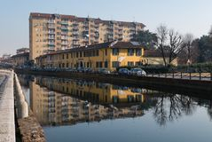 View of Trezzano sul naviglio reflected on the canal. Italy Royalty Free Stock Photography