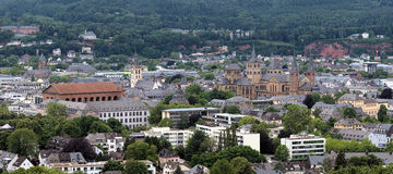 View on Trier from Petrisberg Mount, Germany. View on Trier from Petrisberg Mount with St. Paulus Church, Basilica of Constantine, Trier Palace, St. Gangolf Royalty Free Stock Photography