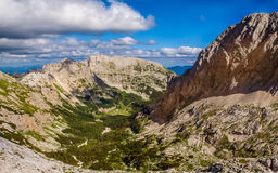 View in the Triglav National Park. Panoramic view  from the mountain hut Planika to the valley Triglav National Park,.Julian Alps, Slovenia Royalty Free Stock Images