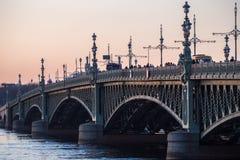 Trinity bridge over the Neva river in St. Petersburg. stock image