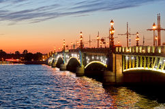 View of the Trinity Bridge in St. Petersburg, Russia. Stock Photography