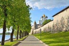 View of Trinity Cathedral and Dovmontova the tower to the walkwa Stock Photo